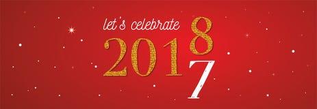 bandera 2018 de la celebración oro 2017 números que cumplen 2018 en fondo rojo Foto de archivo