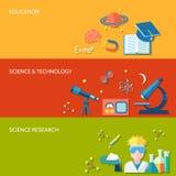 Bandera de la ciencia y de la investigación Foto de archivo libre de regalías
