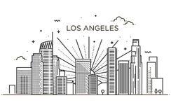 Bandera de la ciudad de Los Ángeles en la línea plana estilo de moda Línea arte de ciudad de Los Ángeles stock de ilustración
