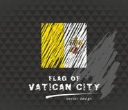 Bandera de la Ciudad del Vaticano, ejemplo de la tiza del vector en fondo negro Imágenes de archivo libres de regalías