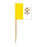 Bandera de la Ciudad del Vaticano Palillo de la bandera en el fondo blanco Imagen de archivo libre de regalías