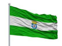 Bandera de la ciudad de Los Ángeles en la asta de bandera, Chile, aislado en el fondo blanco stock de ilustración