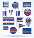 Bandera de la colección de Cabo Verde, ejemplo del vector Imagen de archivo