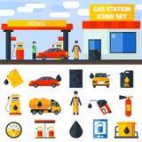 Bandera de la colección de los iconos de la gasolinera del gas Foto de archivo