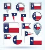 Bandera de la colección de Tejas, ejemplo del vector Imágenes de archivo libres de regalías