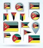 Bandera de la colección de Mozambique, ejemplo del vector Imagen de archivo libre de regalías