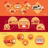Bandera de la comida de la calle Imagen de archivo libre de regalías