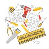 Bandera de la composición de los pictogramas del trabajador de construcción Fotos de archivo libres de regalías