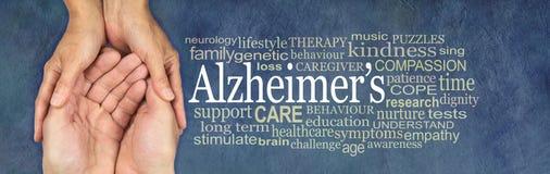 Bandera de la conciencia de la campaña de la nube de la palabra de Alzheimer imágenes de archivo libres de regalías