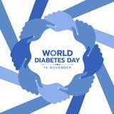 Bandera de la conciencia del día de la diabetes del mundo con la mano azul del control de la mano alrededor del diseño del vector libre illustration