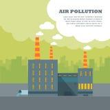 Bandera de la contaminación atmosférica Fábrica con los tubos de la niebla con humo Foto de archivo
