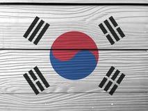 Bandera de la Corea del Sur en fondo de madera de la pared  fotos de archivo libres de regalías