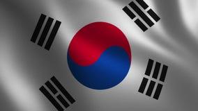 Bandera de la Corea del Sur que agita 3d abstraiga el fondo Animación del lazo