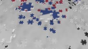 Bandera de la Corea del Sur que es hecha con los pedazos del rompecabezas Animación conceptual 3D de la solución coreana del prob almacen de metraje de vídeo