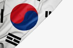 Bandera de la Corea del Sur de la tela con el copyspace para su texto en el fondo blanco stock de ilustración