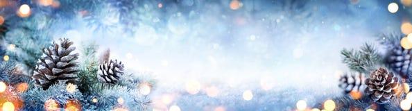 Bandera de la decoración de la Navidad - conos del pino Nevado en rama del abeto Foto de archivo libre de regalías