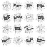 Bandera de la bandera del vintage La recepción retra exhausta de las banderas de la mano, deja para ir y conseguir comenzó bander libre illustration