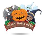 Bandera de la diversión del feliz Halloween stock de ilustración