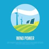 Bandera de la energía eólica Limpie el concepto de los recursos Fotos de archivo libres de regalías