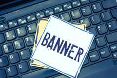 Bandera de la escritura del texto de la escritura El concepto que significaba lema o diseño largo del transporte del paño de la t fotografía de archivo