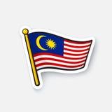 Bandera de la etiqueta engomada de Malasia stock de ilustración
