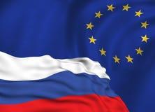 Bandera de la Federación Rusa contra la perspectiva de la bandera de unión europea, del conflicto de sanciones y de la agresión d ilustración del vector