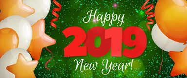 Bandera 2019 de la Feliz Año Nuevo Imagen de archivo