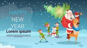 Bandera de la Feliz Año Nuevo de la decoración de la tarjeta de felicitación de Santa Claus Carry Christmas Green Tree Reindeer Fotos de archivo