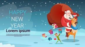 Bandera de la Feliz Año Nuevo de la Feliz Navidad de la decoración de la tarjeta de felicitación de Santa Claus Carry Big Present Imágenes de archivo libres de regalías
