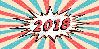 Bandera de la Feliz Año Nuevo del estilo 2018 de la burbuja cómica del discurso del arte pop 2018 estafas cómicas de la explosión Imágenes de archivo libres de regalías
