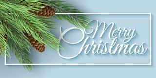 Bandera de la Feliz Navidad Árbol de navidad con los conos Marco blanco con el texto caligráfico Ilustración del vector Cubierta  Imagenes de archivo