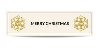 Bandera de la Feliz Navidad con el copo de nieve de oro Foto de archivo libre de regalías