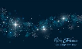 Bandera de la Feliz Navidad y de la Feliz Año Nuevo con las estrellas, el brillo y los copos de nieve Fondo del vector ilustración del vector