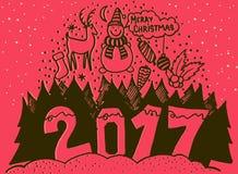 Bandera 2017 de la Feliz Navidad y de la Feliz Año Nuevo Santa Claus linda con el bolso rojo grande en los copos de nieve del fon Imagenes de archivo