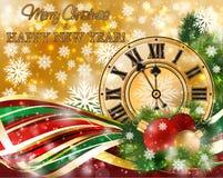 Bandera de la Feliz Navidad y del Año Nuevo con el reloj de Navidad, libre illustration