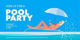 Bandera de la fiesta en la piscina con la muchacha en sunbed al lado del ejemplo del vector de la piscina imagen de archivo libre de regalías