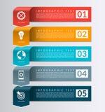 Bandera de la flecha para el infographics del negocio plantilla del diseño de 5 pasos Imágenes de archivo libres de regalías