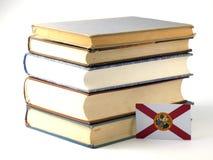 Bandera de la Florida con la pila de libros en el fondo blanco fotografía de archivo