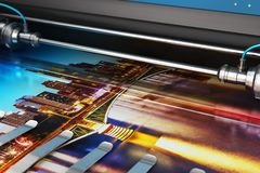 Bandera de la foto de la impresión en trazador de color del formato grande ilustración del vector