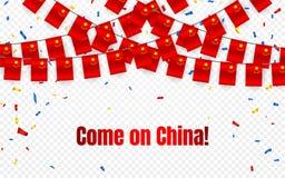Bandera de la guirnalda de China con confeti en el fondo transparente, empavesado de la caída para la bandera de la plantilla de  ilustración del vector