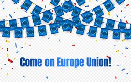 Bandera de la guirnalda de la unión de Europa con confeti en el fondo transparente, empavesado de la caída para la bandera de la  ilustración del vector