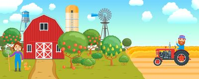 Bandera de la historieta en tema agrícola stock de ilustración