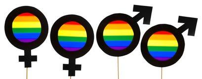 Bandera de la homosexualidad y del orgullo gay Símbolos del género con LGBT y Foto de archivo