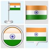 Bandera de la India - sistema de etiqueta engomada, de botón, de etiqueta y de fla Imagenes de archivo
