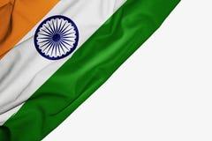 Bandera de la India de la tela con el copyspace para su texto en el fondo blanco stock de ilustración