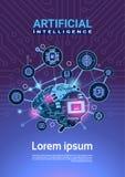Bandera de la inteligencia artificial con Brain Cog Wheel And Gears cibernético sobre fondo vertical de la placa madre con el esp stock de ilustración