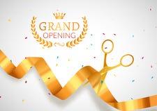 Bandera de la invitación de la gran inauguración Evento de oro de la ceremonia del corte de la cinta Cartel de la tarjeta de la c ilustración del vector