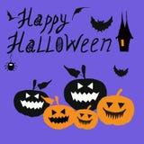 Bandera de la invitación de Halloween con las calabazas fantasmagóricas Fondo del feliz Halloween libre illustration
