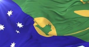 Bandera de la Isla de Navidad que agita en el viento en lento, lazo