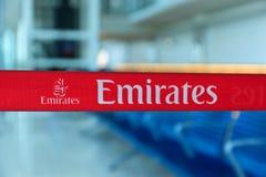 Bandera de la línea aérea de los emiratos Fotos de archivo libres de regalías